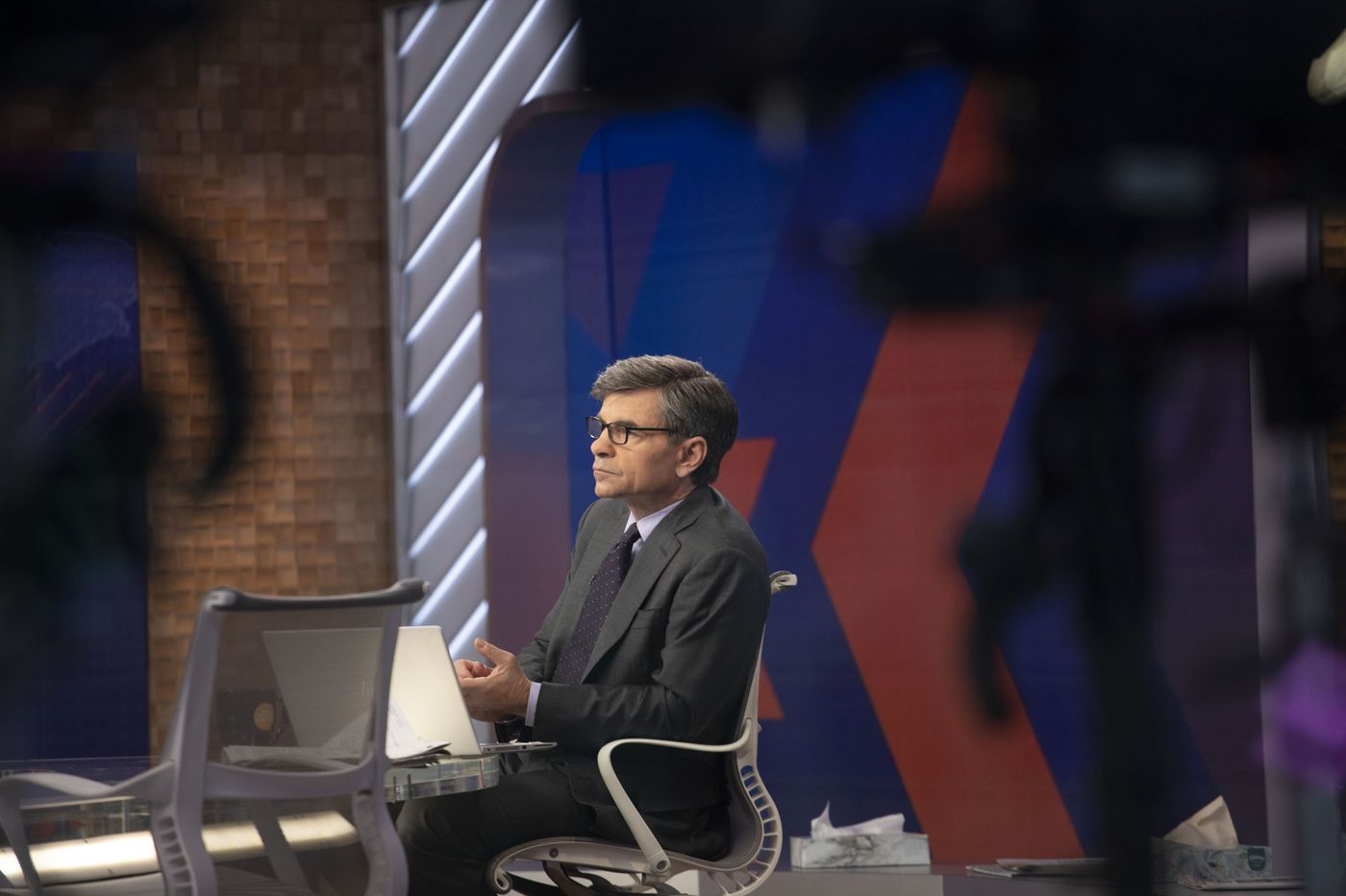 """George Stephanopoulos hosts """"Good Morning America"""" from ABC's Times Square studio Monday, March 23, 2020 in New York."""