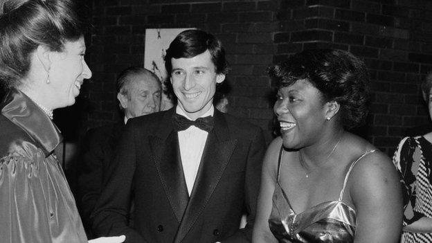 Princess Anne talking with Olympic medallists Sebastian Coe and Tessa Sanderson in 1984