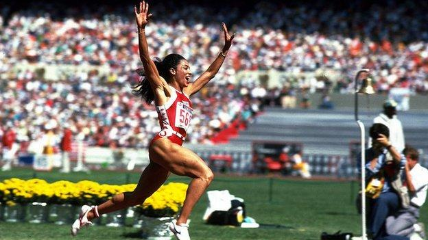 Florence Griffith-Joyner winning the 200m at the 1988 Seoul Olympic Games