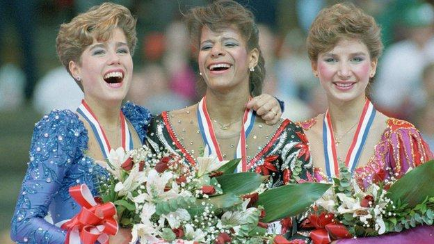 Medallists of the 1988 US National figure skating championships, Jill Trenary, Debi Thomas and Caryn Kadavy