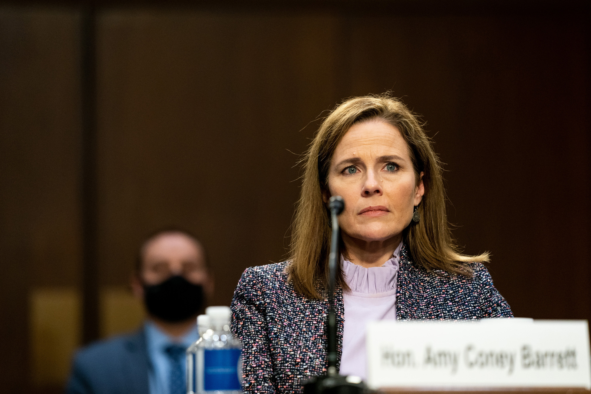 Judge Amy Coney Barrett testifies before the Senate Judiciary Committee on the third day of her Supreme Court confirmation hearing on Capitol Hill on October 14 in Washington, DC.